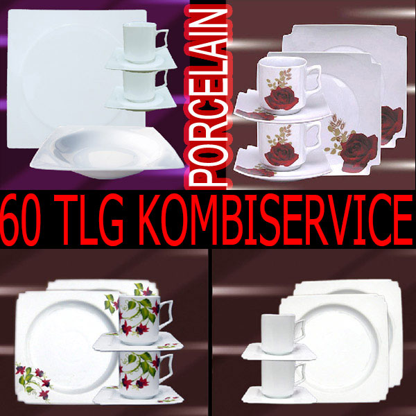 60 tlg geschirr tafel service kaffeeset kombiservice porzellan 12 personen eckig ebay. Black Bedroom Furniture Sets. Home Design Ideas