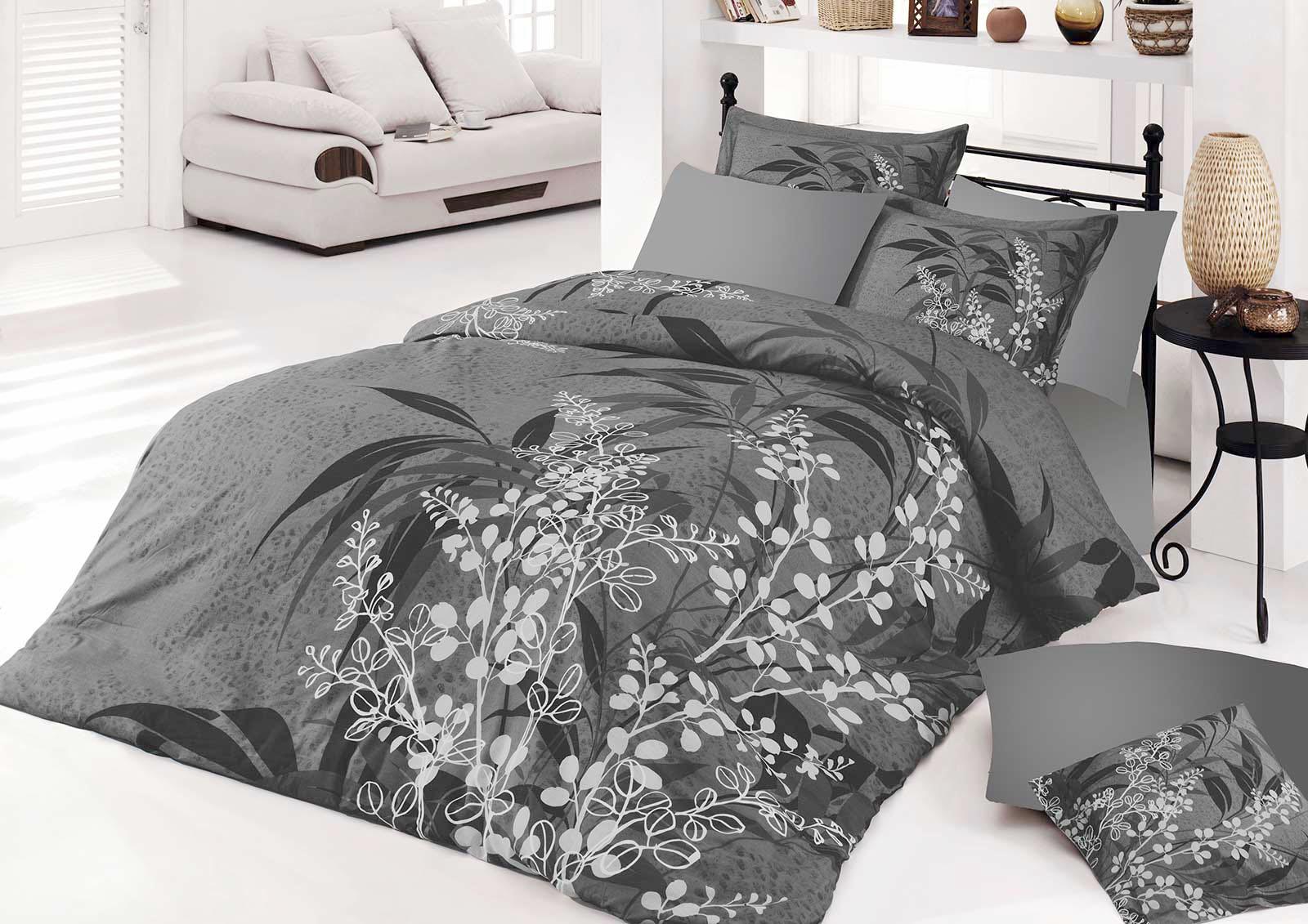 5 tlg bettw sche bettgarnitur 100 baumwolle kissen decke 200x200cm akasya grau. Black Bedroom Furniture Sets. Home Design Ideas
