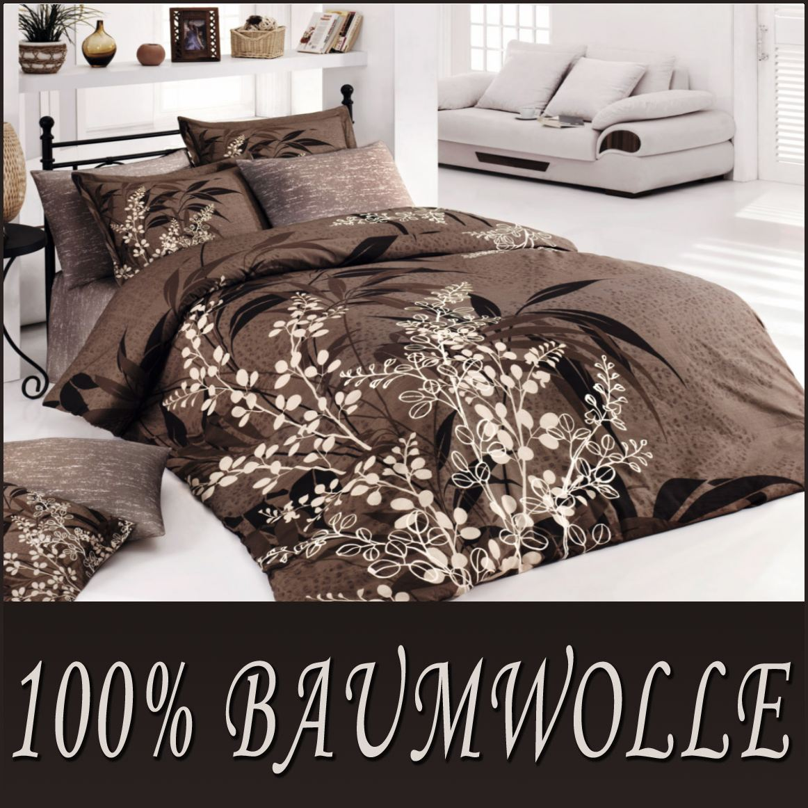 5 tlg bettw sche bettgarnitur 100 baumwolle kissen 200x200 cm akasya 02 neu ebay. Black Bedroom Furniture Sets. Home Design Ideas