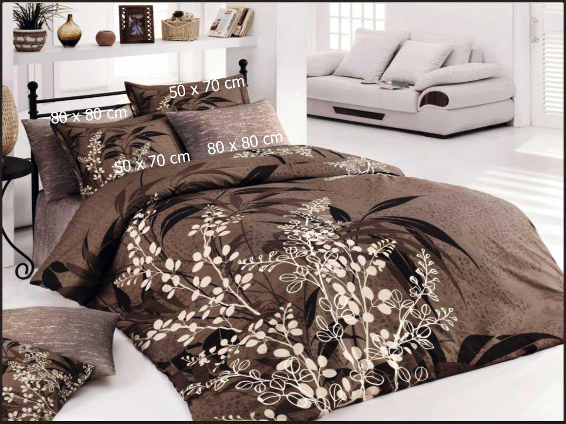6 tlg bettw sche bettgarnitur 100 baumwolle kissen 220x240 cm akasya braun neu ebay. Black Bedroom Furniture Sets. Home Design Ideas