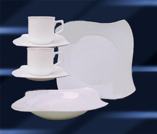 60 tlg geschirr tafelservice kaffeeset porzellan 12 personen avantgarde weiss ebay. Black Bedroom Furniture Sets. Home Design Ideas