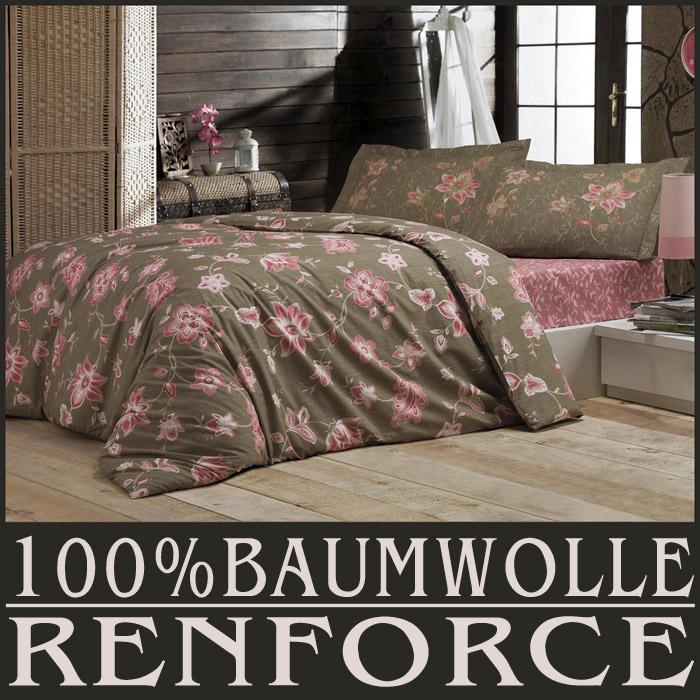4 tlg bettw sche bettgarnitur renforce baumwolle 200x220. Black Bedroom Furniture Sets. Home Design Ideas