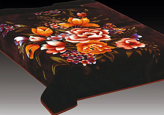 flauschige wolldecke decke 160x220cm braun orange blume ebay. Black Bedroom Furniture Sets. Home Design Ideas