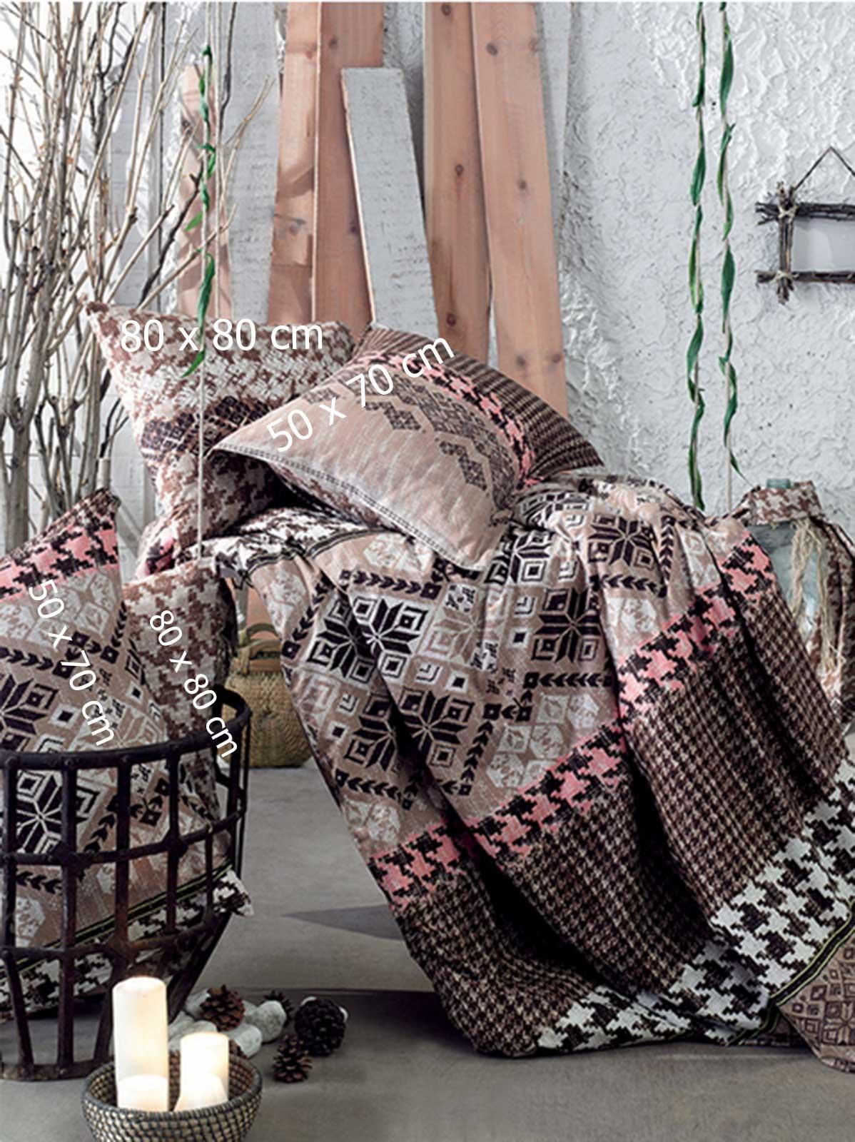 6 tlg bettw sche bettgarnitur 100 baumwolle kissen 220x240 cm etnik 01 braun. Black Bedroom Furniture Sets. Home Design Ideas