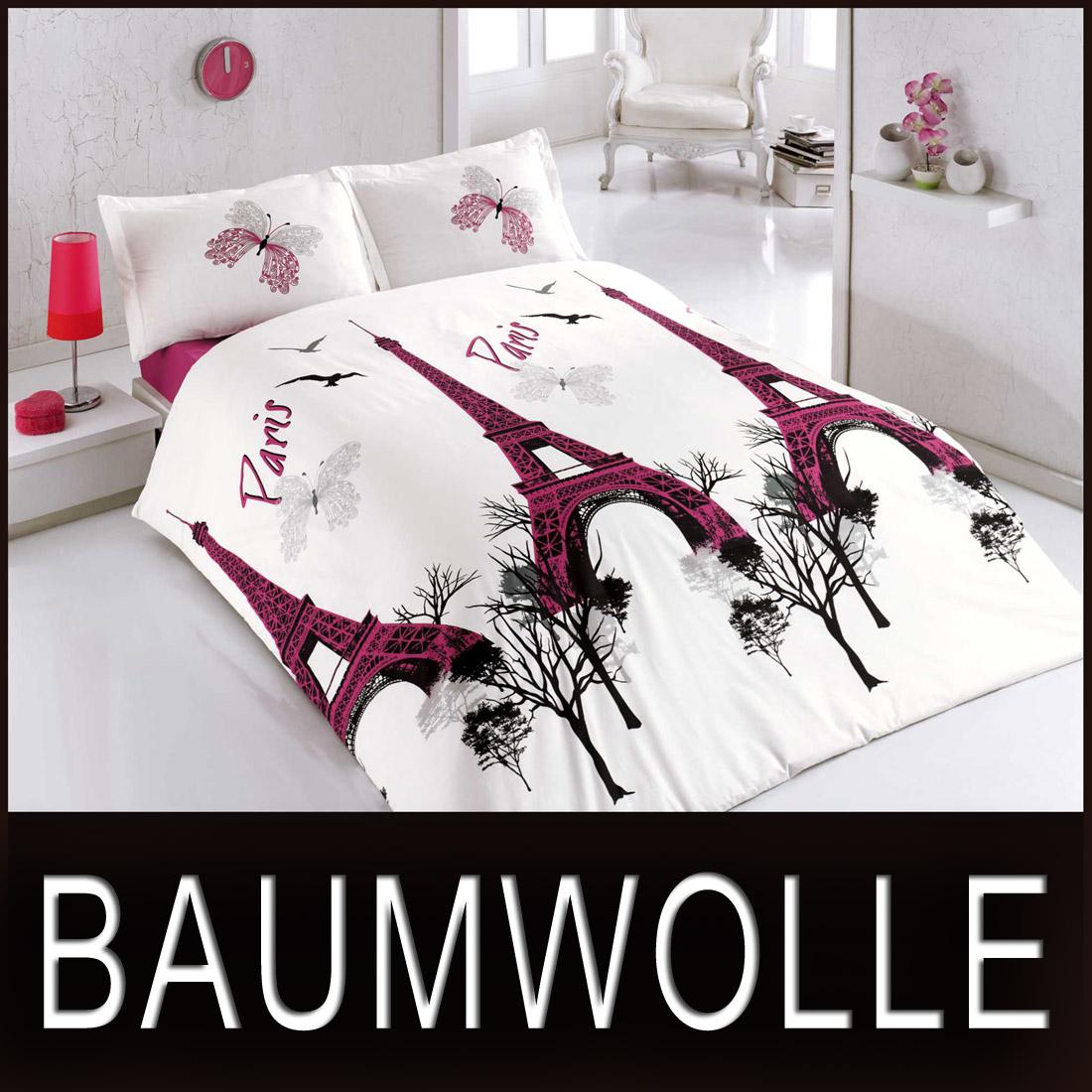 5 tlg bettw sche bettgarnitur baumwolle renforc 200x200 cm eifelturm paris neu ebay. Black Bedroom Furniture Sets. Home Design Ideas