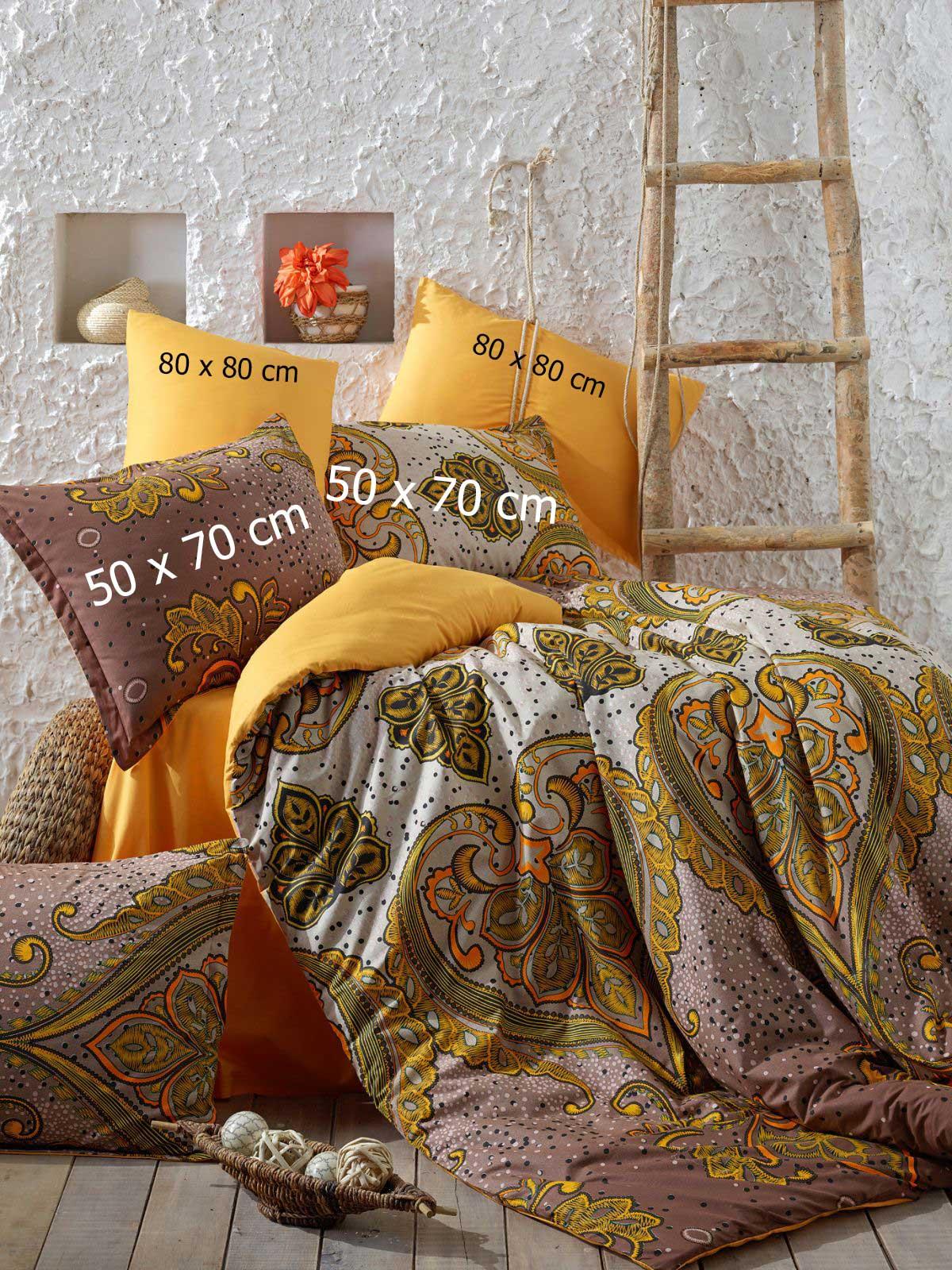 6 tlg bettw sche bettgarniturn 100 baumwolle kissen decke 200x220cm feza gelb ebay. Black Bedroom Furniture Sets. Home Design Ideas