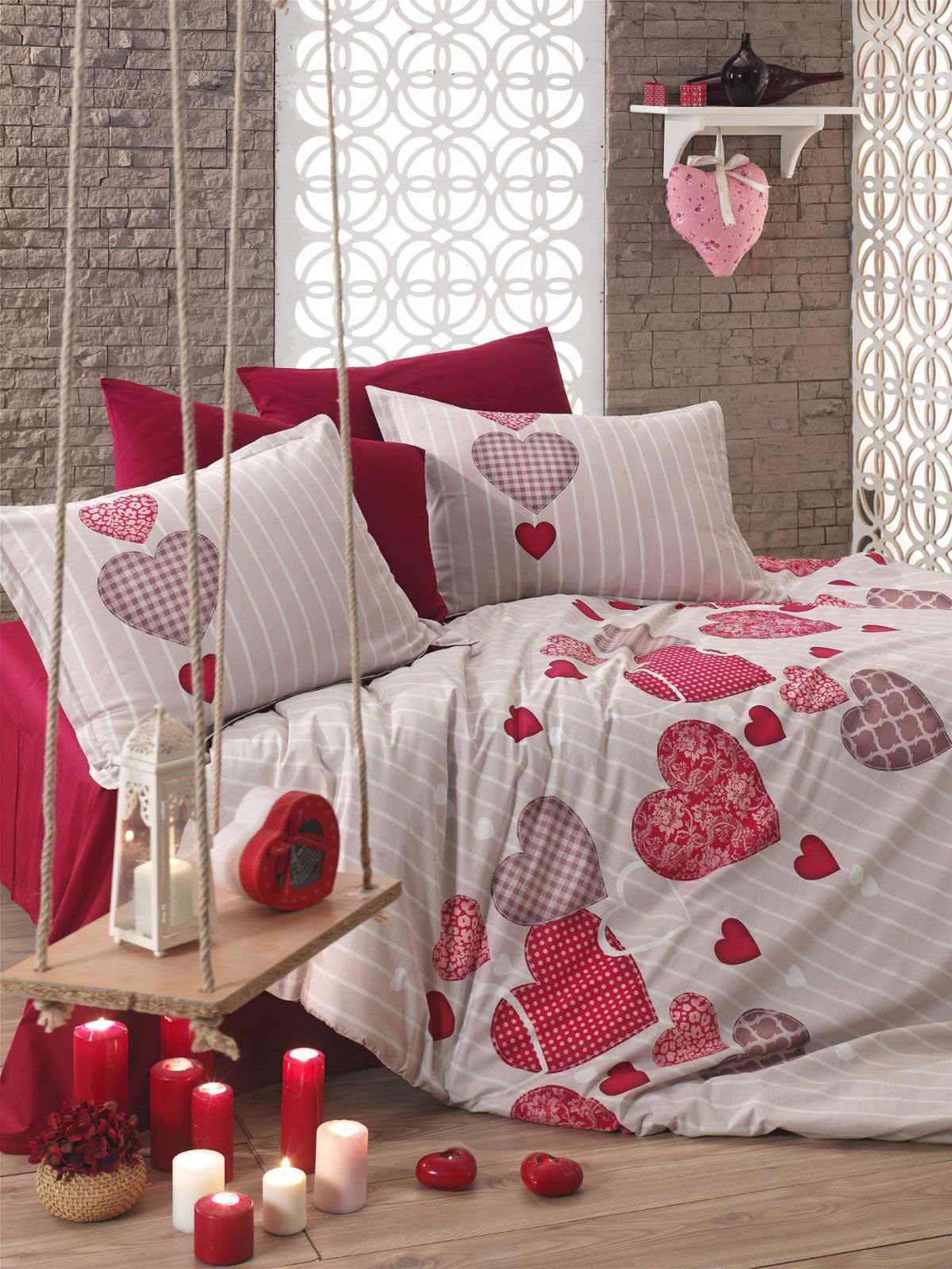6 tlg bettw sche bettgarnitur 100 baumwolle kissen 220x240 cm heart rot neu ebay. Black Bedroom Furniture Sets. Home Design Ideas