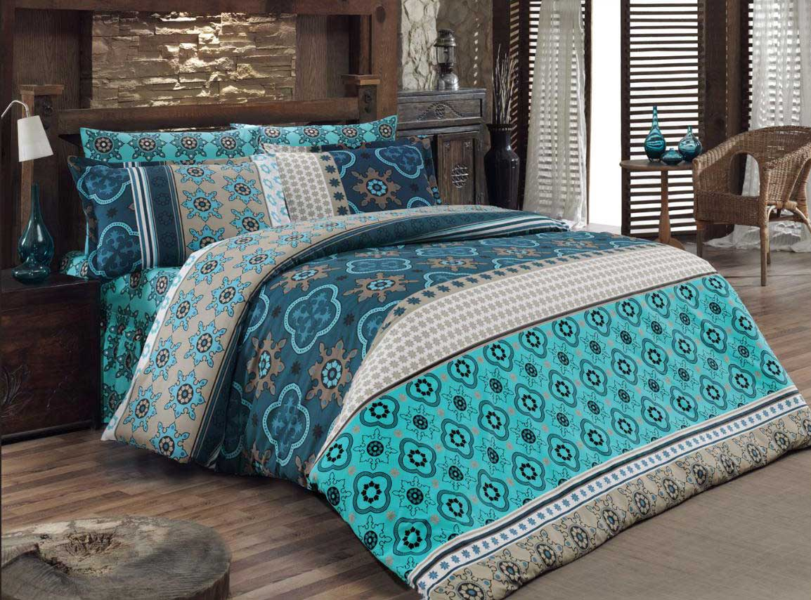 5 tlg bettw sche bettgarnitur 100 baumwolle kissen 200x200 cm kilim blau neu. Black Bedroom Furniture Sets. Home Design Ideas