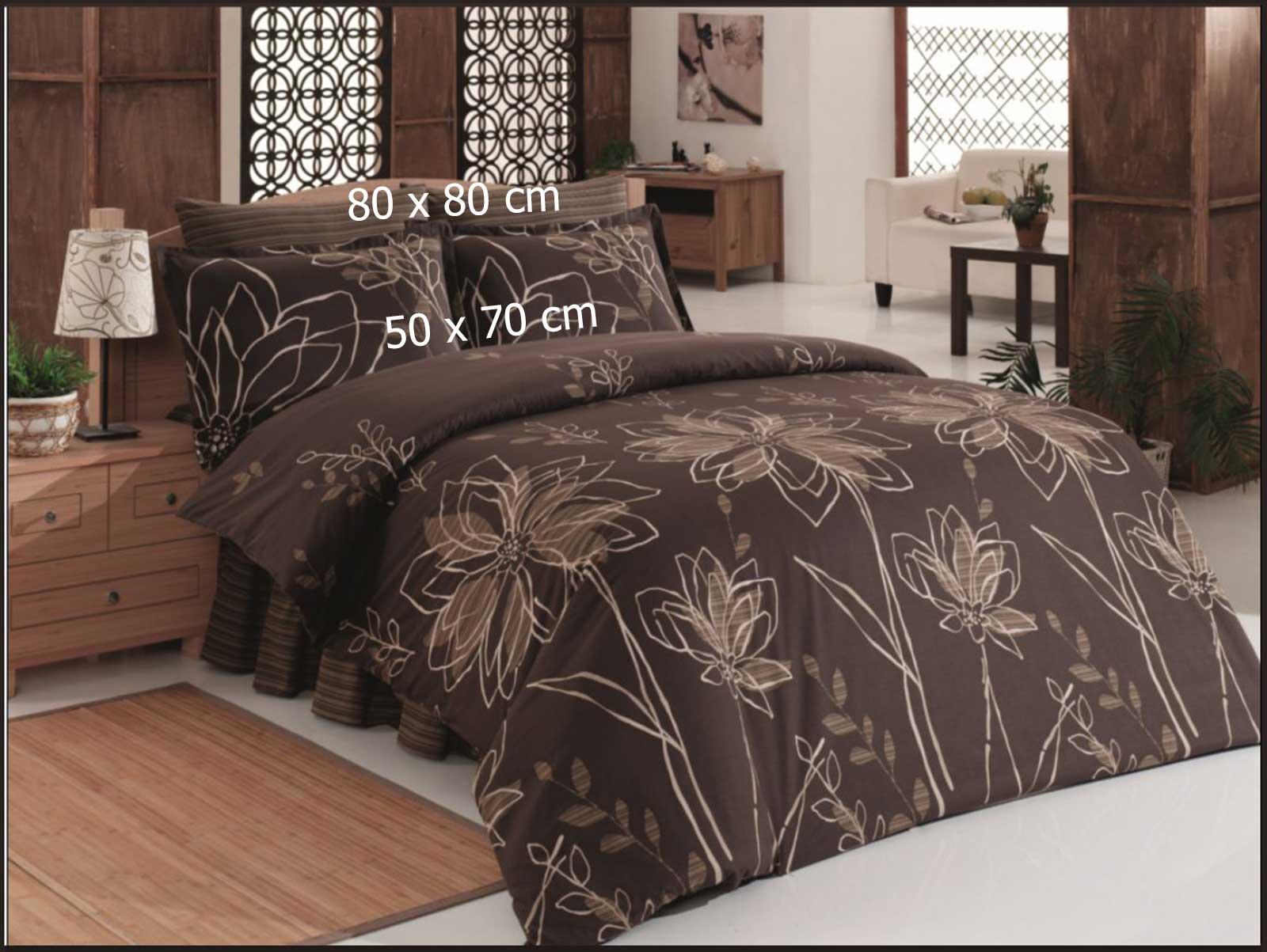 6 tlg bettw sche 100 baumwolle bettgarnitur kissen decke 220x240cm krizantem br ebay. Black Bedroom Furniture Sets. Home Design Ideas