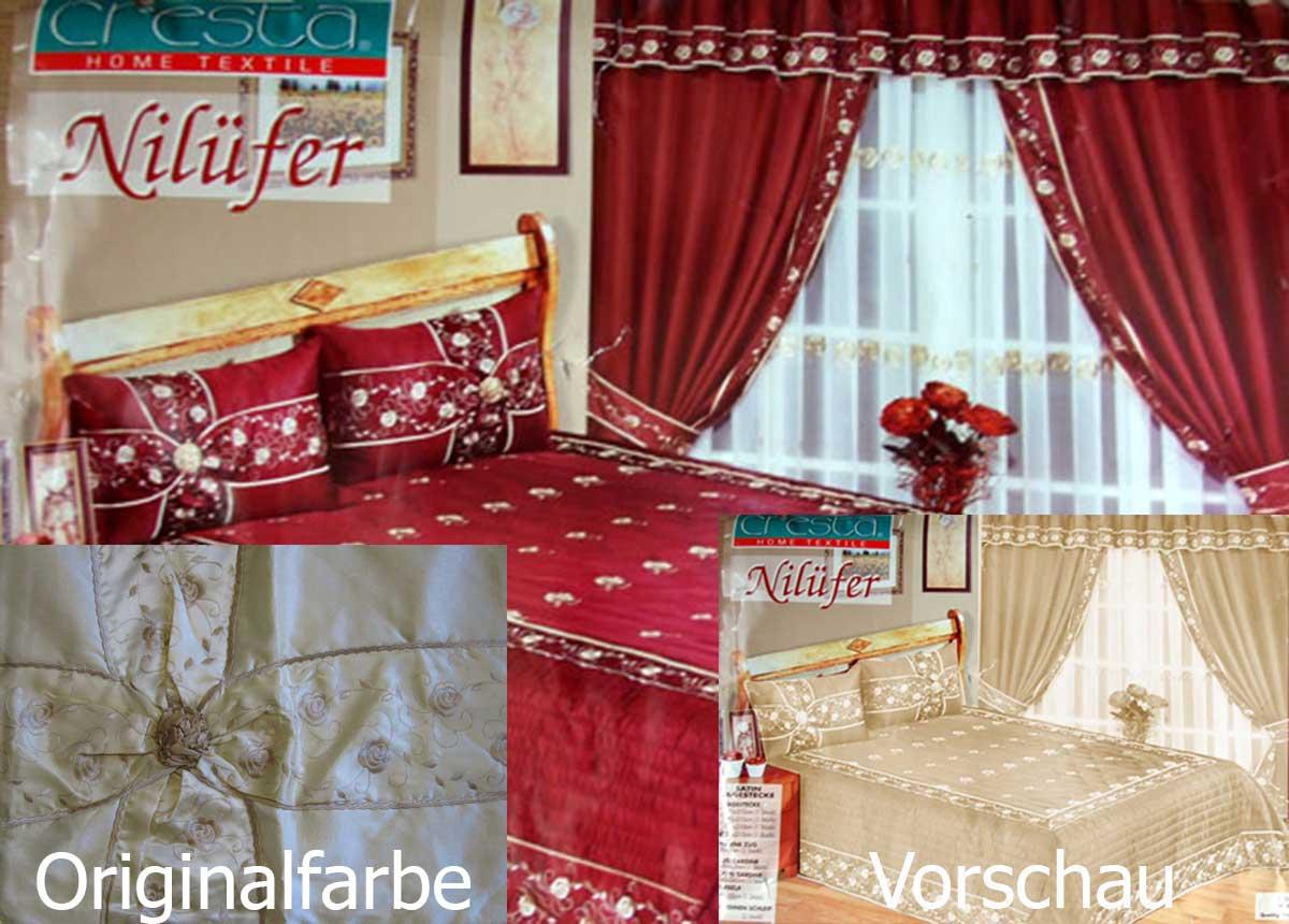 luxus 9 tlg tagesdecke bet berwurf set vorh nge gardine nil fer blau beige neu ebay. Black Bedroom Furniture Sets. Home Design Ideas