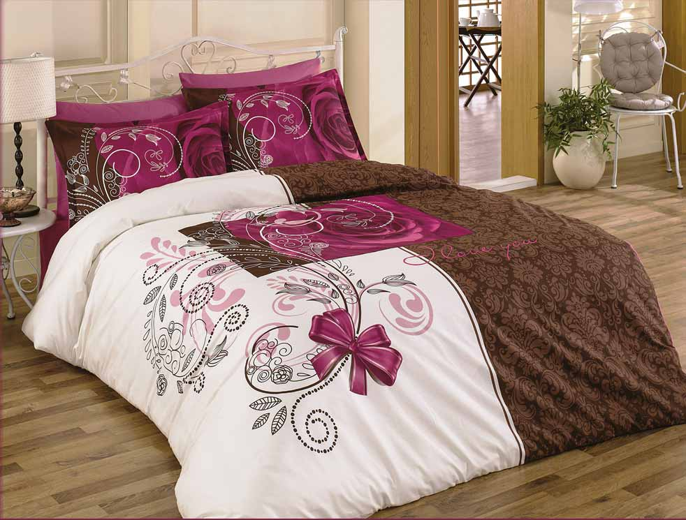 5 tlg bettw sche bettgarnitur 100 baumwolle kissen decke 200x200cm rose 2 neu ebay. Black Bedroom Furniture Sets. Home Design Ideas