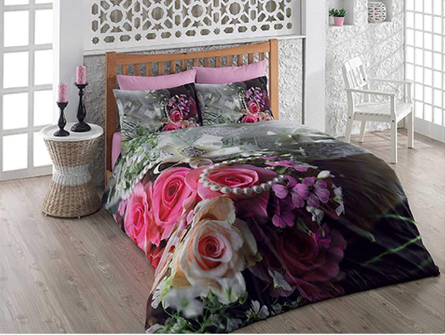 6 tlg 3d bettw sche bettgarnitur satin 100 baumwolle kissen 200x220 cm rose neu ebay. Black Bedroom Furniture Sets. Home Design Ideas