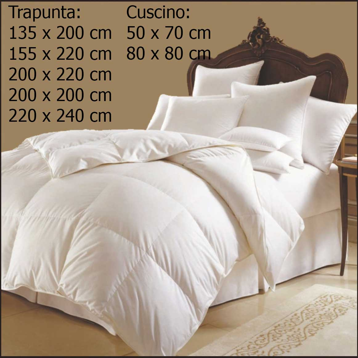 Lusso piumino per letto cuscino cotone matrimoniale - Piumoni per letto singolo ...