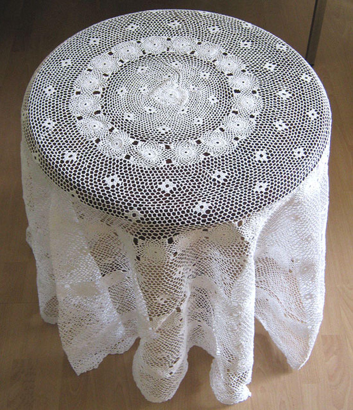 tischdecke decke handarbeit weiss beige baumwolle wolle rund ca 150cm rund neu ebay. Black Bedroom Furniture Sets. Home Design Ideas