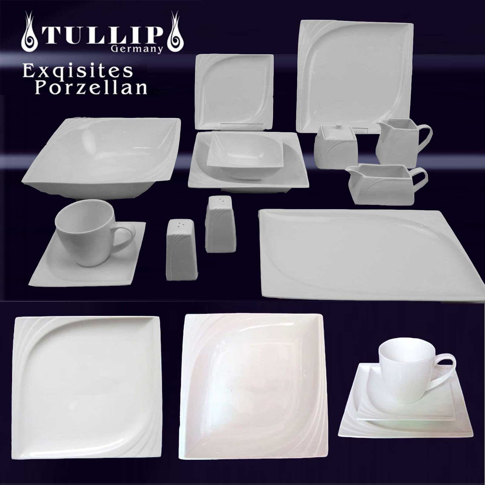 30 43 60 73 pcs vaiselle service de table complet assiette de porcelaine tullip ebay. Black Bedroom Furniture Sets. Home Design Ideas