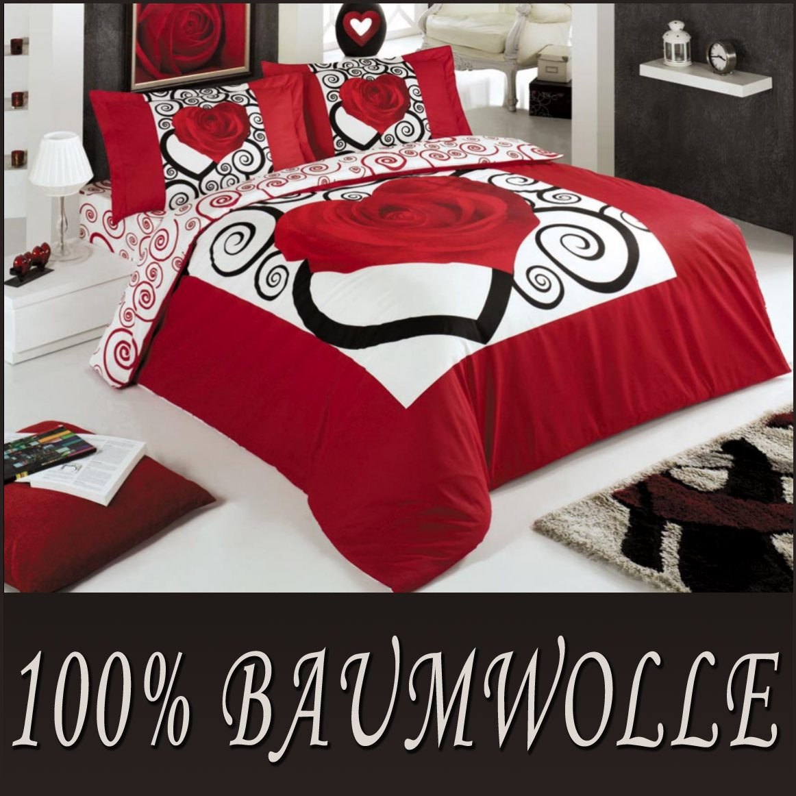 4 tlg bettw sche baumwolle 200x220 cm tutku rot herz rose. Black Bedroom Furniture Sets. Home Design Ideas