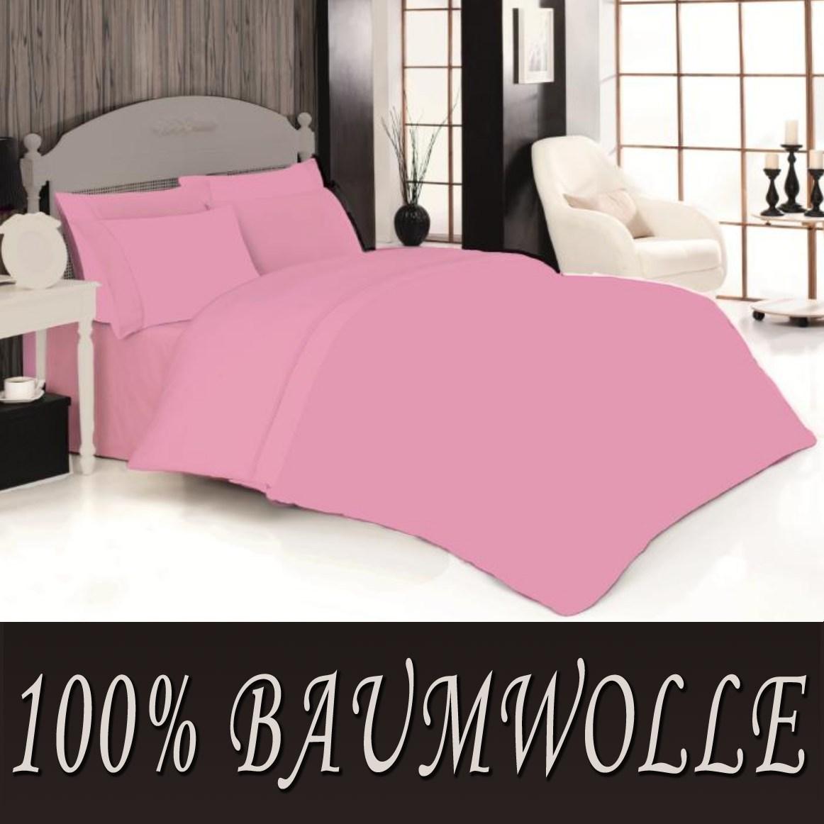 2 tlg bettw sche bettgarnitur baumwolle renforce 135 x 200 cm einfarbig uni neu ebay. Black Bedroom Furniture Sets. Home Design Ideas