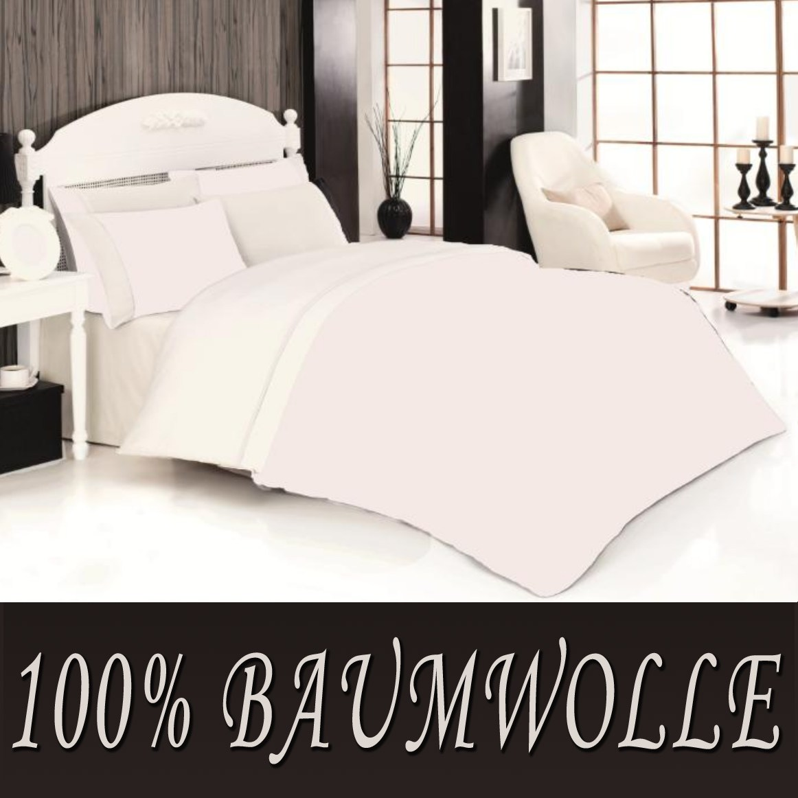 2 tlg bettw sche bettgarnitur baumwolle renforce 135 x 200 cm einfarbig uni neu ebay. Black Bedroom Furniture Sets. Home Design Ideas