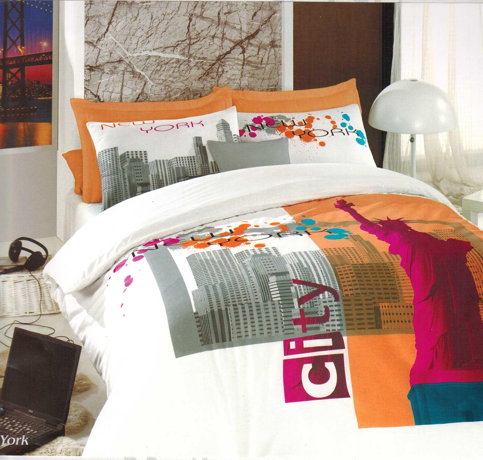 5 tlg bettw sche bettgarnitur 100 baumwolle kissen decke 200x200cm new york neu ebay. Black Bedroom Furniture Sets. Home Design Ideas