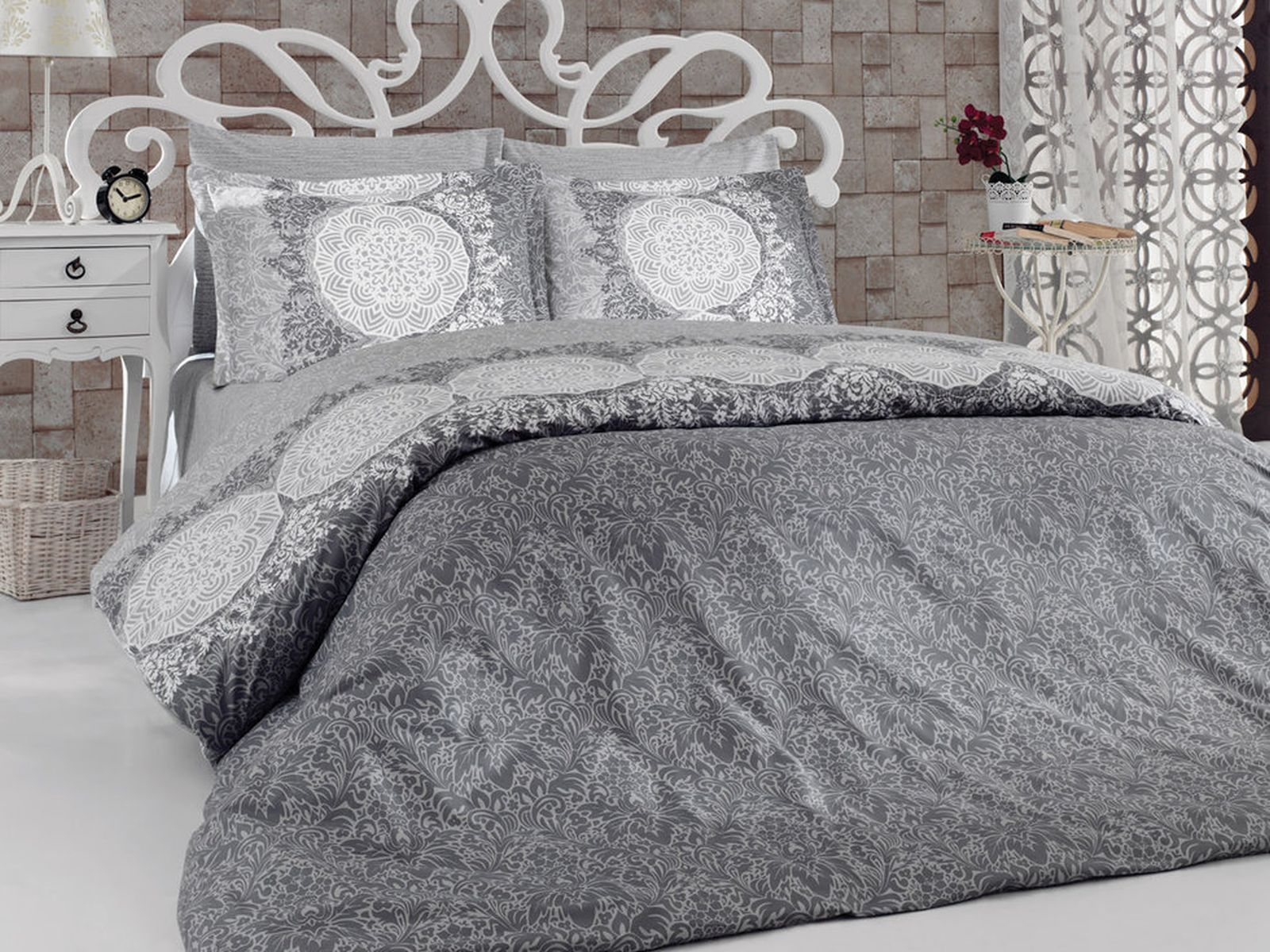 6 tlg bettw sche 100 baumwolle bettgarnitur kissen. Black Bedroom Furniture Sets. Home Design Ideas