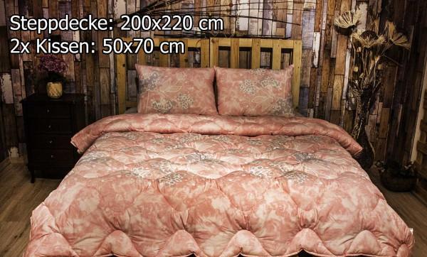 3 tlg Steppdecke 200x220 cm Schlafset Steppbett SALKIM PINK