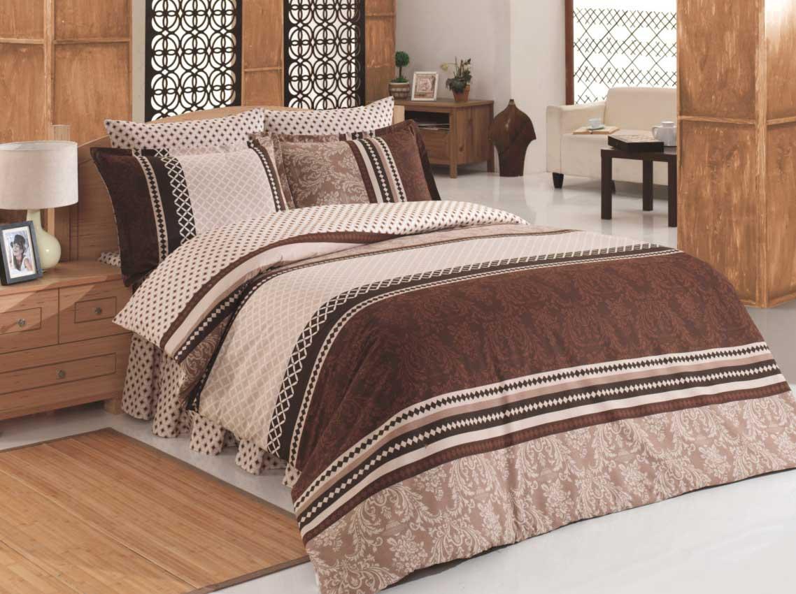 Completo lenzuola matrimoniale biancheria de letto 220x240cm damask marrone ebay - Biancheria letto matrimoniale ...