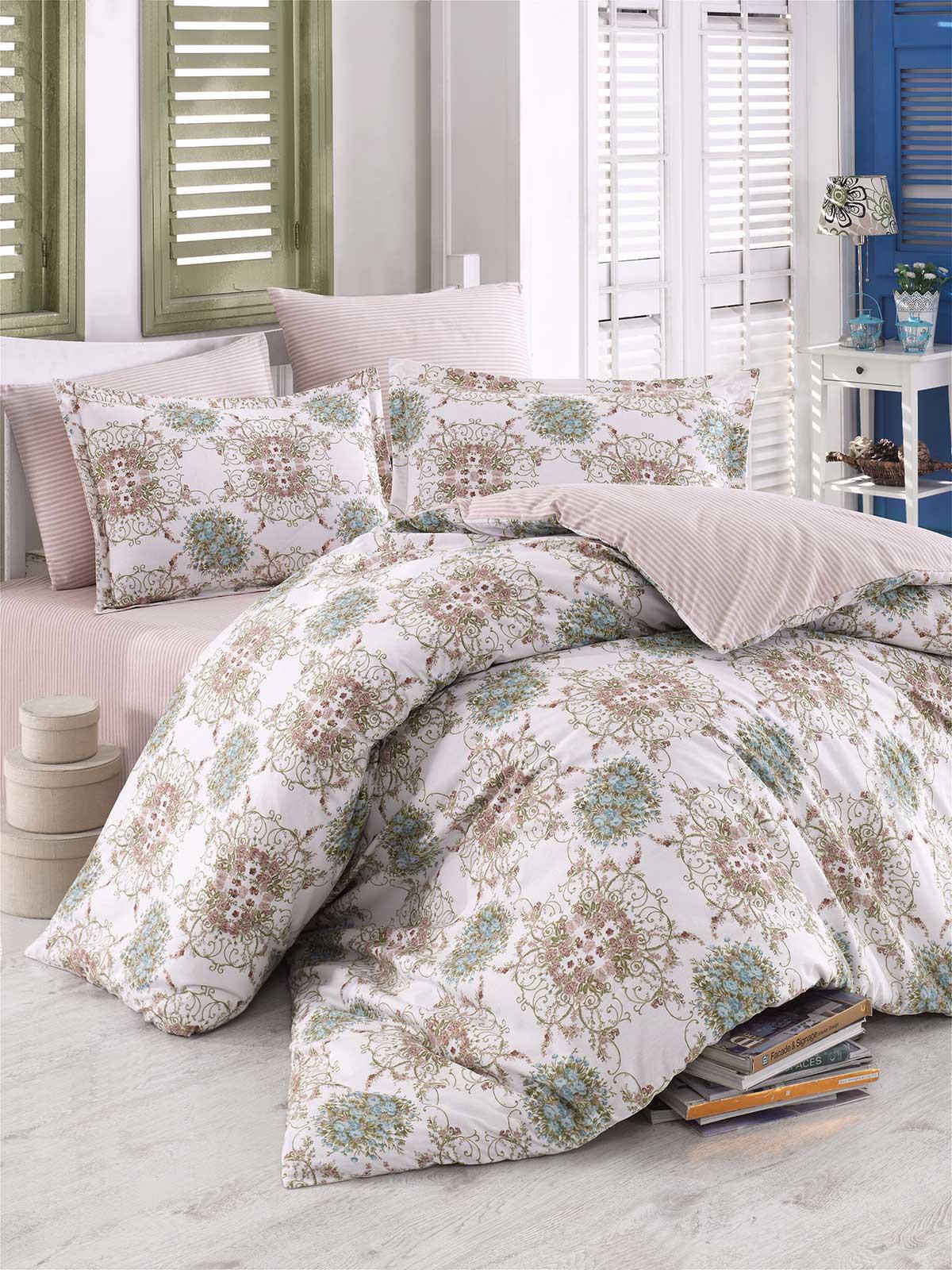 6 tlg bettw sche bettgarnitur 100 baumwolle kissen decke 220x240 cm sultan gr n ebay. Black Bedroom Furniture Sets. Home Design Ideas