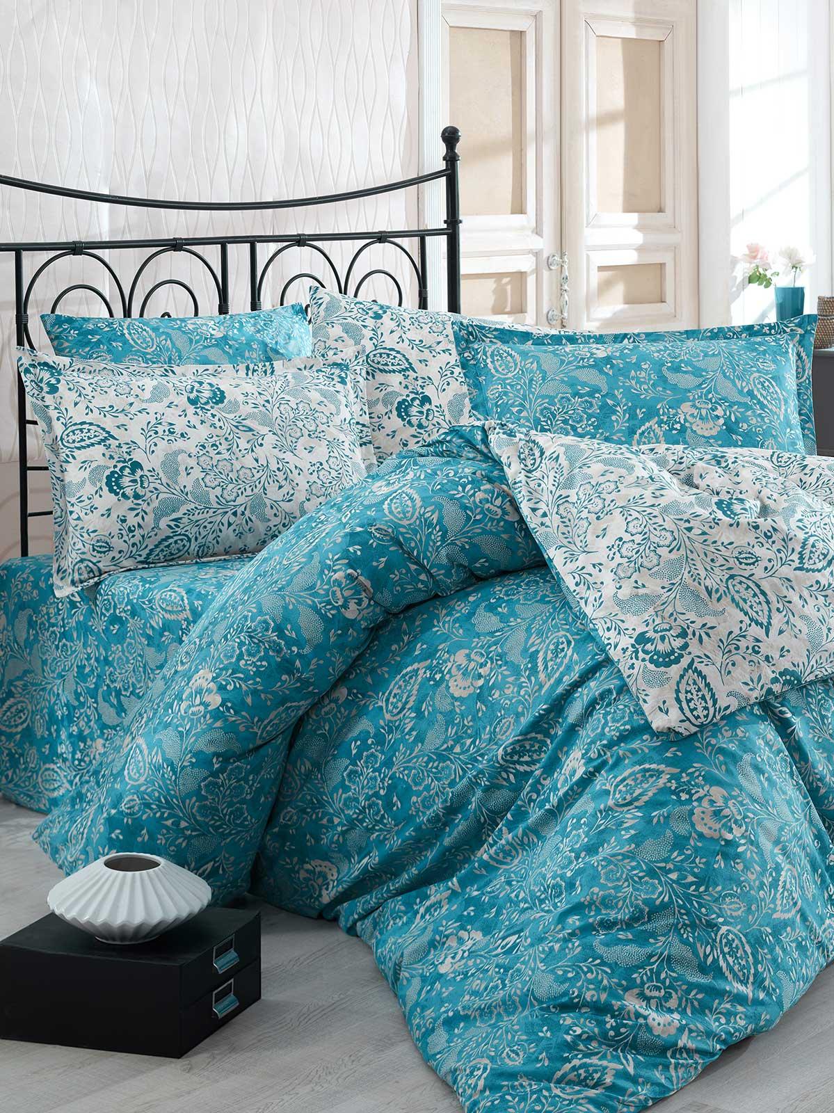 6 tlg bettw sche bettgarnitur bettbezug 100 baumwolle kissen 220x240 cm yprk bl ebay. Black Bedroom Furniture Sets. Home Design Ideas