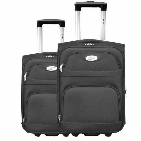 2 tlg Kofferset Koffer Reisetrolley #09 SCHWARZ