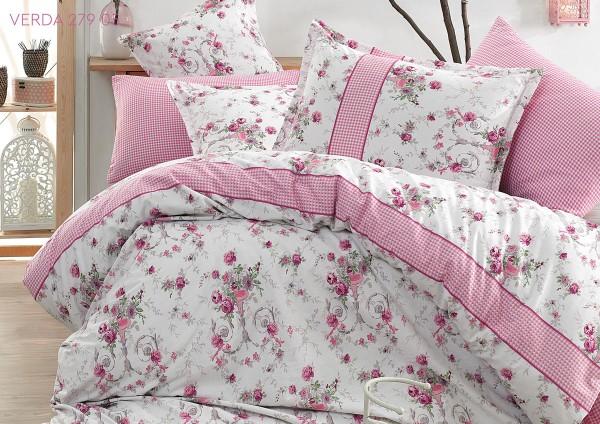 Bettwäsche 155x220 cm Bettbezug Bettgarnitur Baumwolle 3 tlg VERDA PINK