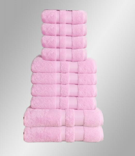 10er Set Handtuch Badetuch Gästetuch Baumwolle Farbe: Pink