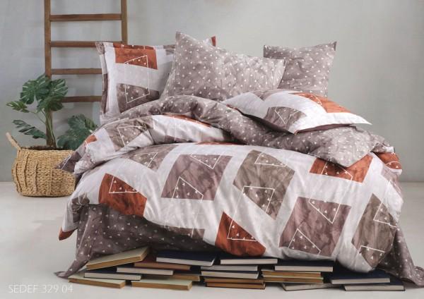 Bettwäsche 155x220 cm Bettbezug Bettgarnitur Baumwolle 3 tlg SEDEF BRAUN