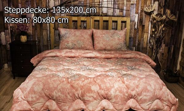 2 tlg Steppdecke 135x200 cm Schlafset Steppbett SALKIM PINK
