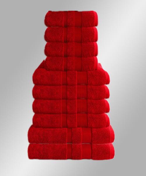 10er Set Handtuch Badetuch Gästetuch Baumwolle Farbe: Rot