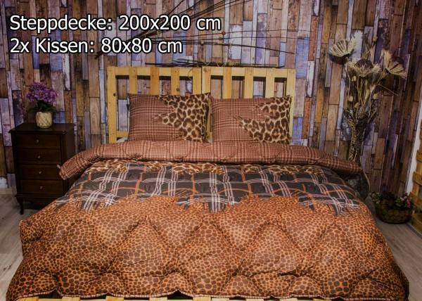 3 tlg Steppdecke 200x200 cm Schlafset Steppbett LEOPARD BRAUN