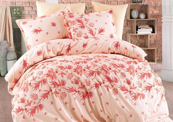 Bettwäsche 220x240 cm Bettbezug Bettgarnitur Baumwolle 6 tlg SPRING ORANGE