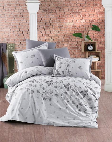 Bettwäsche 200x220 cm Bettgarnitur Bettbezug Baumwolle Kissen 4 tlg DAMASK BRAUN