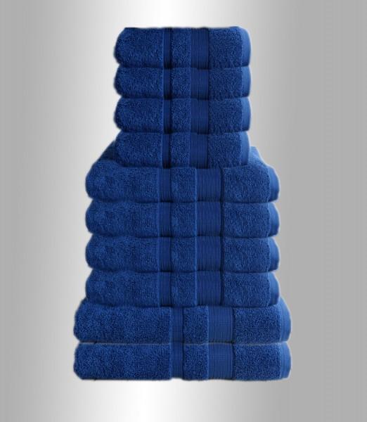 10er Set Handtuch Badetuch Gästetuch Baumwolle Farbe: Blau Dunkel