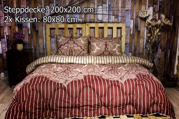 3 tlg Steppdecke 200x200 cm Schlafset Steppbett LALE BORDO