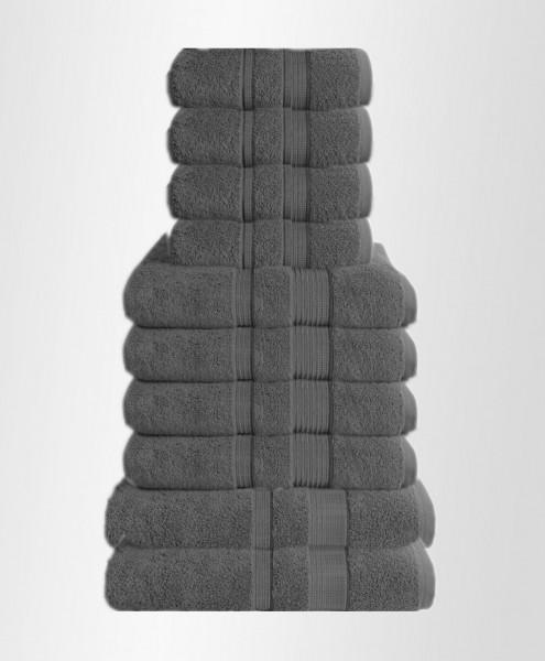 10er Set Handtuch Badetuch Gästetuch Baumwolle Farbe: Grau Dunkel