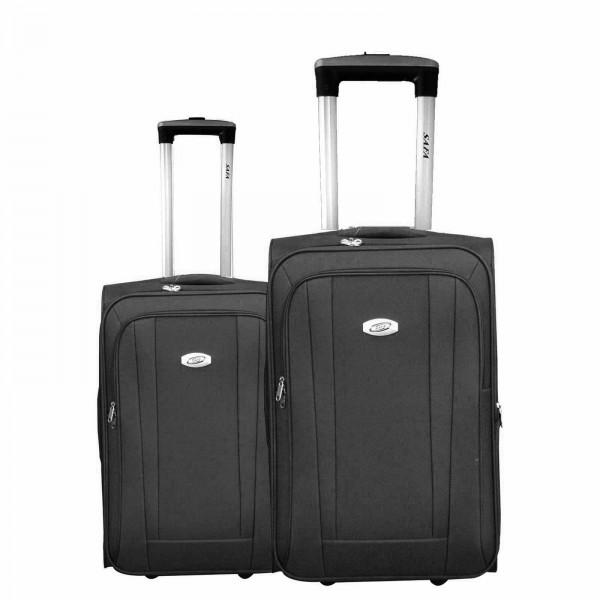 2 tlg Kofferset Koffer Reisetrolley #36 SCHWARZ