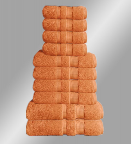 10er Set Handtuch Badetuch Gästetuch Baumwolle Farbe: Terracotta