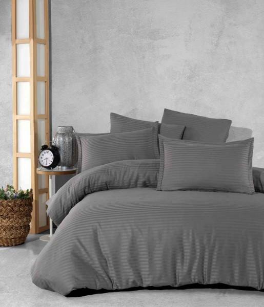 Bettwäsche 135x200 cm Bettgarnitur Bettbezug Satin 2 tlg YS GRAU