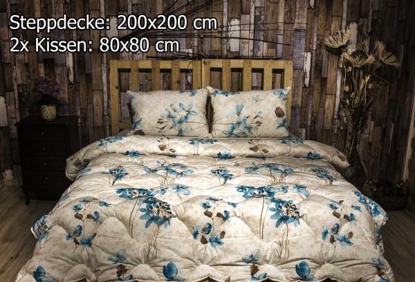 3 tlg Steppdecke 200x200 cm Schlafset Steppbett YAREN BLAU