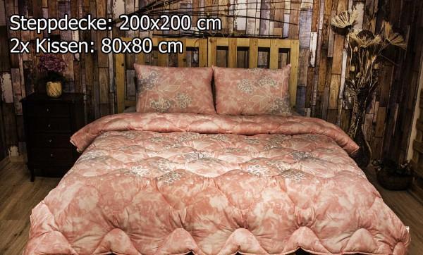 3 tlg Steppdecke 200x200 cm Schlafset Steppbett SALKIM PINK