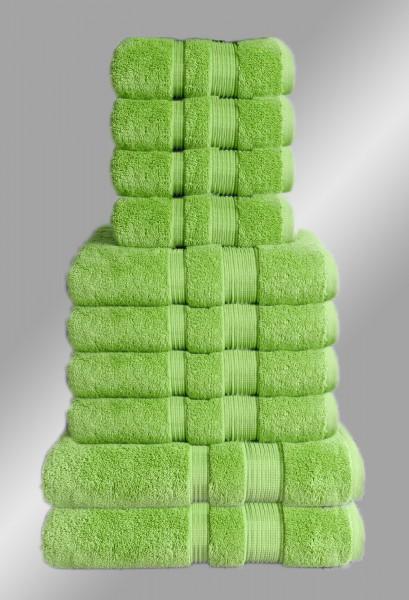 10er Set Handtuch Badetuch Gästetuch Baumwolle Farbe: Grün