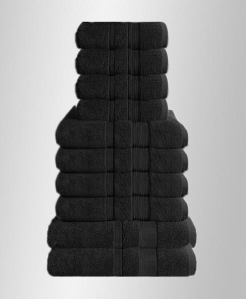 10er Set Handtuch Badetuch Gästetuch Baumwolle Farbe: Schwarz