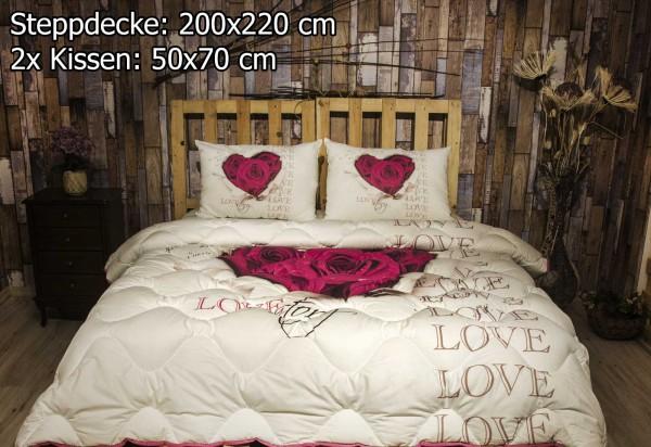 3 tlg Steppdecke 200x220 cm Schlafset Steppbett LOVESTORY