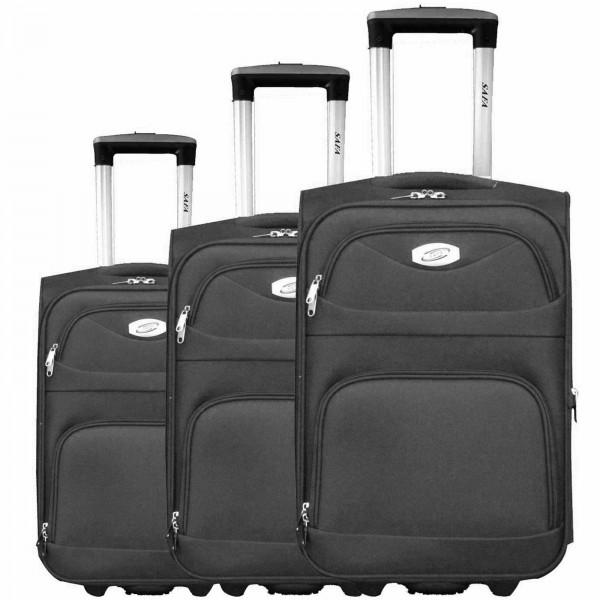 3 tlg Kofferset Koffer Reisetrolley #09 SCHWARZ