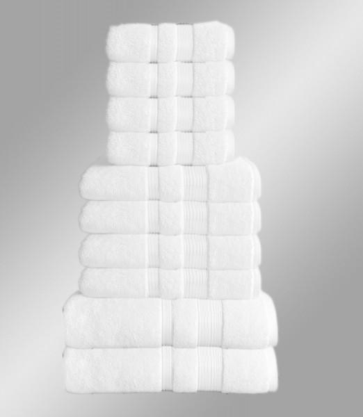 10er Set Handtuch Badetuch Gästetuch Baumwolle Farbe: Weiß